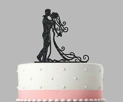 Wedding Acrylic Cake Decoration Bride and Groom Glitter Topper.402