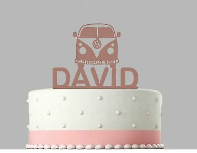 Campervan Birthday Personalised Acrylic Cake Topper Rose Gold mirror.254