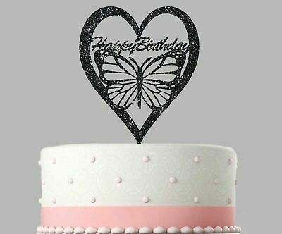 Birthday Acrylic Cake Decoration Butterfly Glitter Topper.13