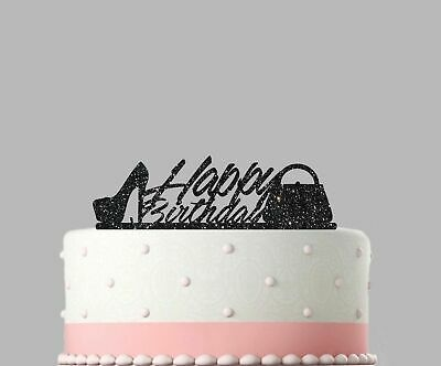 Birthday Acrylic Cake Decoration Shoes and Handbags Glitter Topper.05