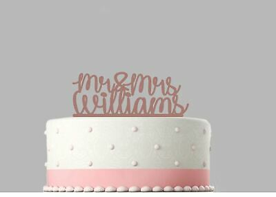 Mr and Mrs Wedding Personalised Acrylic Cake Topper Rose Gold mirror.749