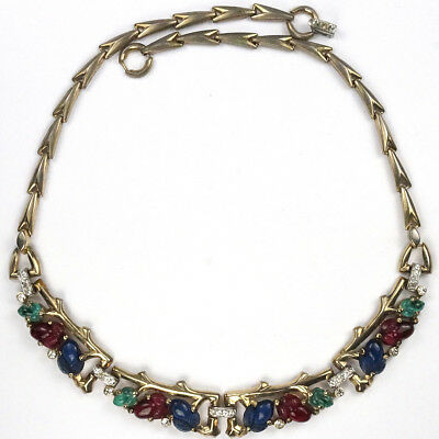 Trifari Gold Branches Tricolour Fruit Salads Four Element Choker Necklace
