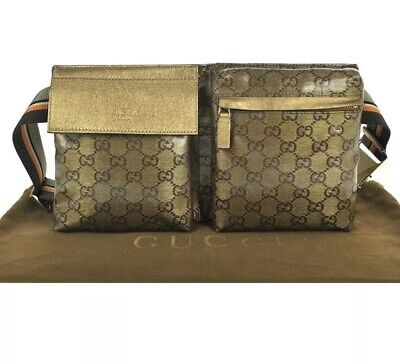 d6c33799e3c GUCCI Auth Sherry Web GG Crystal Waist Pouch Bumbag Belt Bag Fanny Pack  Brown