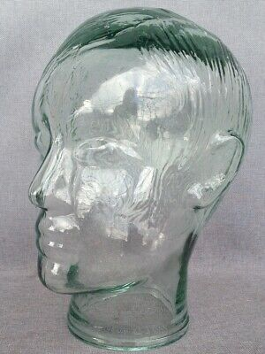 """Vintage french mannequin head 1970's heavy thick glass 10"""" tall"""