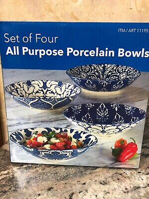 "Certified International 9"" Blue Porcelain Baroque Soup or Serving Bowls Set of 4"