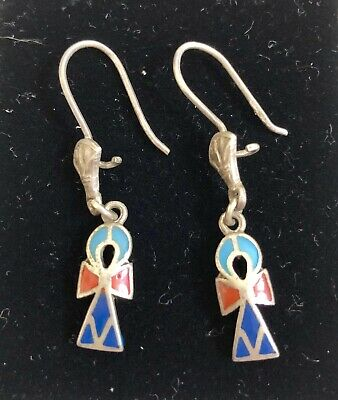 Vintage Egyptian Ankh Drop Earrings Lapis Solid Silver Bought In Egypt