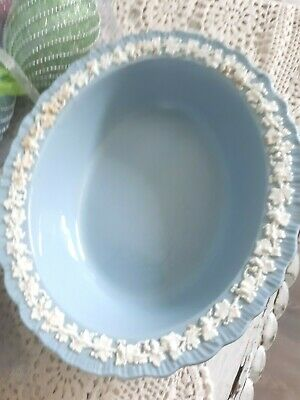 Vtg Wedgwood Queensware Cream Lavender Blue Oval Vegetable Serving Bowl Easter