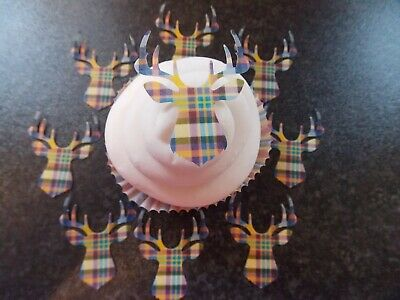 12 PRECUT Edible Tartan style Stags Head wafer/rice paper cake/cupcake toppers