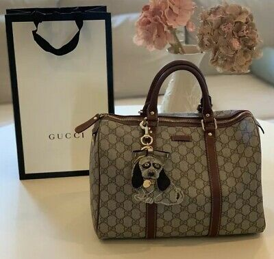 6f48c849047e Gucci Joy Boston GG Monogram Coated Canvas Leather Bag Brown With Dog Bag  Charm