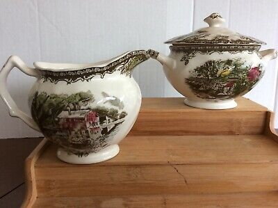 Johnson Brothers -The Friendly Village Creamer and Sugar Bowl with Lid England