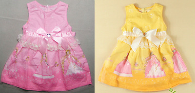 STUNNING Brand New Girls Pink or Yellow Princess printed dress Age 3 to 9 LOOK!