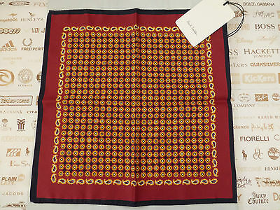 PAUL SMITH Pocket Square Mens Italian Flower Silk Hankie Red Handkerchief R£50