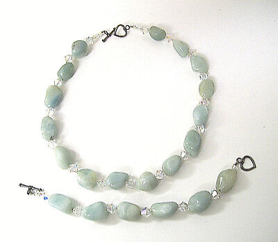 Moon Stones & Swarovski Crystals Necklace & Bracelet Set w/ Heart Toggle Clasps