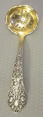 "antique 1880 OLD MEDICI SUGAR SIFTER Gorham sterling pierced ladle 6"" gold bowl"