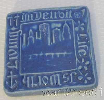 """LIFE IS WORTH LIVING IN DETROIT Pewabic Art Pottery tile 4"""" carved cityscape"""