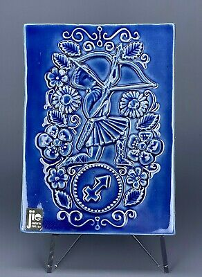 Mid Century Jie Gantofta Sweden Zodiac Shooter Blue Ceramic Wall Plaque Tile