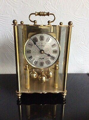"Vintage ""koma"" German Anniversary/carriage Clock.bevelled Glass Panels."