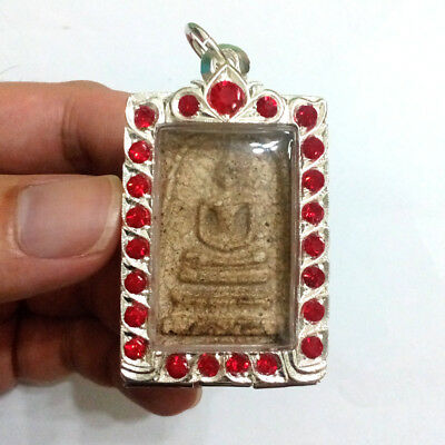 Old Thai Buddha Amulet Phra Somdej Back Chinese letter Case Plated silver 30% #P