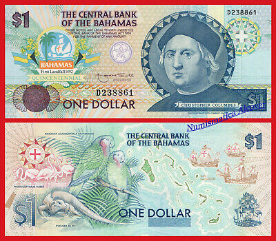 BAHAMAS 1 Dollar dolar 1992 Commemorative Pick 50 SC / UNC