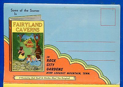 Fairyland Caverns Rock City Gardens Tenn linen postcard folder