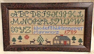 Sullins House Reproduction 1789 Sampler With House Deer And Trees