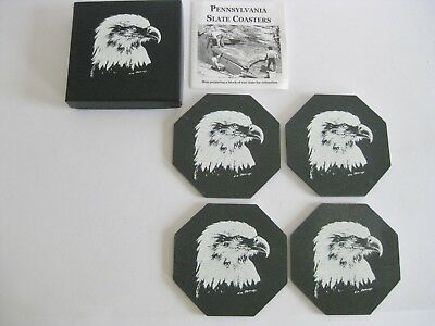Pennsylvania Slate Coasters Eagle Design NIB Handmade in USA