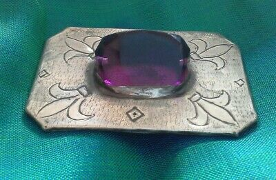 Ruskin style Deco Arts and Crafts brooch with Amethyst  coloured Cabochon Pewter