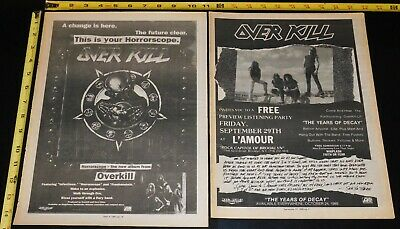 OVERKILL Band Horrorscope 1991 + Years Of Decay 1989 Album Ad Lot Mini Poster