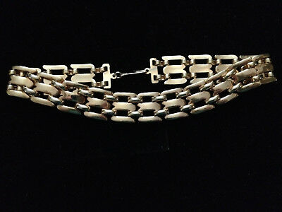 """VINTAGE CHUNKY GOLD TONE NECKLACE 1980s RETRO 12"""" LONG NICE HEAVY QUALITY"""