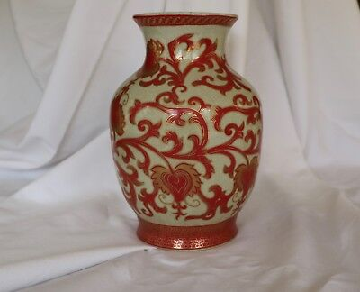 Antique Chinese Vase Iron Red Cloisonne Floral 19th Century Reign Mark Handpaint