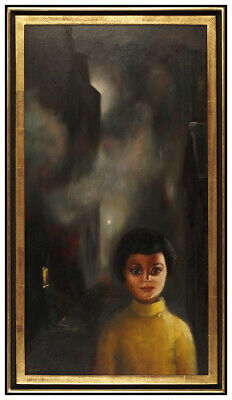 Margaret Keane Large Original Oil Painting on Board Signed Big Eyes Child Art