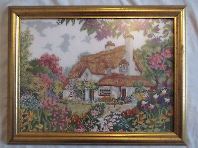 Vintage Needlework Framed picture of a Thatched Country Cottage