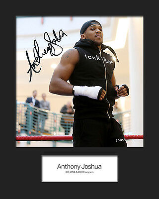 ANTHONY JOSHUA FREE DELIVERY Signed Photo A5 Mounted Print