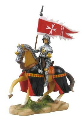 Armored Crusader On Horseback With Maltese-Cross Flagin Right Hand