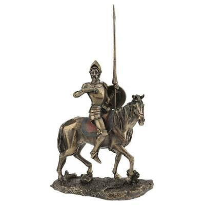 Don Quixote Wearing Full Armor On Horse With Lance And Shield  Sculpture
