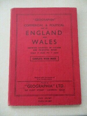 """""""GEOGRAPHIA"""" COMMERCIAL & POLITICAL MAP OF ENGLAND & WALES (1954) with index"""
