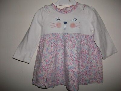 Baby Girls Long Sleeved Floral Pink & White Dress Age 3-6 Months