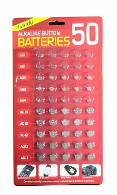 50 Assorted Mixed Alkaline  Button Cell  Batteries Ag 1 / 3 / 4 / 10 / 12 / 13