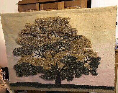 Beautiful Fine Tree Of Life Vintage Art Textile Wool Tapestry Wall Hanging Woven