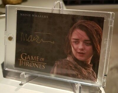 Game of Thrones Valyrian Steel MAISIE WILLIAMS as Arya Stark Gold Autograph