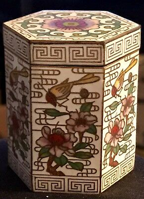 Vintage Six-sided Lidded Chinese Cloisonne Box  With Signature Seal On Bottom