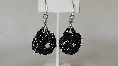 a89be04a1 Sterling Silver 925 Black Spinel Woven Bead Dangle Earrings 2 3/8