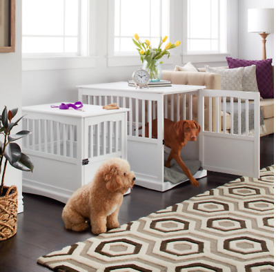 Dog Kennel Pet Crate Furniture End Tables White Puppy House Bed Large Or Small