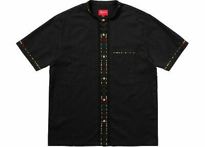 d7f879cea1af SUPREME STRIPED KNIT Polo Red Black Size Medium SS18 Collared Shirt ...