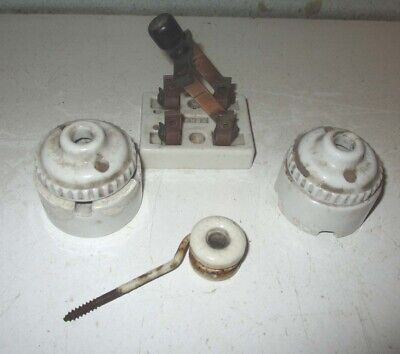 Vintage Porcelain Electric Knox Knife Switch And Two Light Cord Mounts +