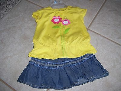 Toddler girls 2 piece summer skirt outfit, by Okie Dokie 18 months, great shape.