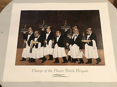 """32.5"""" x 28"""" art print CHARGE OF THE FLOWER BOTTLE BRIGADE by Guy Buffet, 1994"""