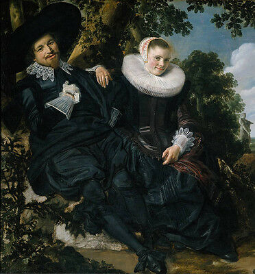Huge Oil painting Frans Hals - Portraits Married Couple in a Garden landscape