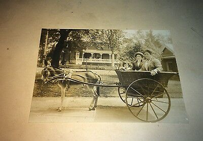 Antique American Outdoor Ladies Adorable Child! Wicker Donkey Cart Cabinet Photo