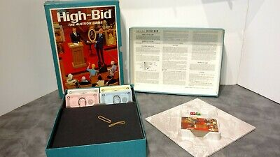 Vintage 1965 High Bid Auction Board Game Buy Sell Property COMPLETE 3M Bookshelf
